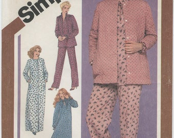 1980s Robe, Bed Jacket, Nightgown, Pajamas Sewing Pattern, Size 12, Simplicity 9784