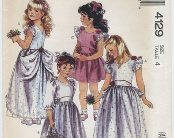 Girls' Formal Gown or Party Dress Sewing Pattern McCalls 4129 Size 4 UNCUT, Flower Girl, Wedding Easter Special Occasion Dress