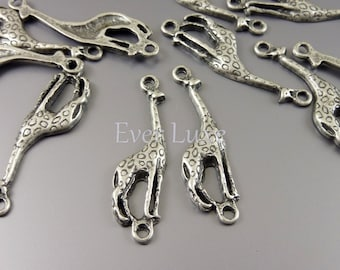 8 Patterned giraffe safari animal connectors, links for making earrings bracelets necklaces in antiqued silver AN037-S (AN silver, 8 pieces)