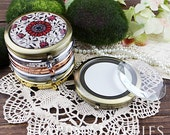 1pcs 70mm Round Blank Brass Double Sided Pocket Mirror with Glass on Top for DIY (Mirror-GS)