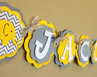 It's a Boy or Girl or Name Elephant Banner Chevron Stripe Polka Dot Gender Neutral Yellow Gray Baby Shower or Birthday Party Decorations