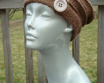 Slouchy Tan Wool Hat With Button, Medium