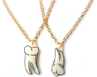 Tooth Necklace - Halloween, Teeth, Molars, Zombie, Bones, Skeletal, X Ray, Anatomical, Dental