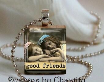 Good Friends Scrabble Charm Necklace