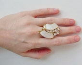 OOAK Repurposed Vintage Rhinestone Asymmetrical Adjustable Cocktail Ring
