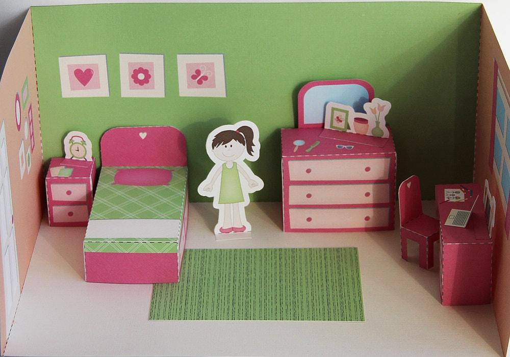 Printable bedroom pdf paper craft for Bedroom paper
