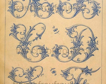 complete antique french victorian alphabet pattern digital download JPG file