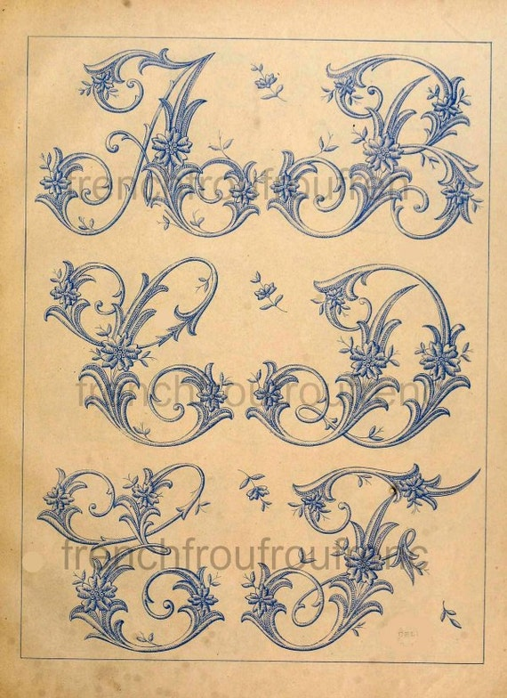 Complete antique french victorian alphabet by frenchfroufrou