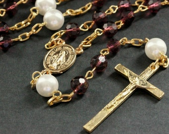 Crystal Rosary. Plum Purple Crystal and Pearl Rosary in Gold. Plum Purple Rosary. Handmade Rosary.