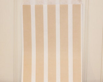 Favor Bags, 24 Party Favor Bags, Ivory Vertical Striped Treat Bags, Candy Bags, Vintage Wedding Favor Bags, Elegant Party Favors, Bakery Bag