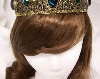 Isabella Antique Gold Filigree Tiara Crown Tudor Renaissance Medieval Game of Thrones