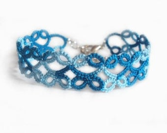 Tatted Turquoise Lace Bracelet - Lillian - Adjustable