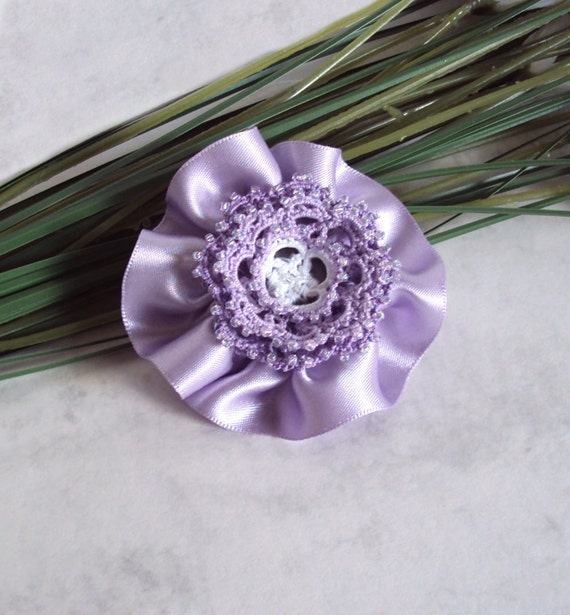 Beaded Flower Hair Clip -  Tatted Lace Hair Clip / Brooch - Pastel Colours - Lilac Flower Brooch - Rosetta