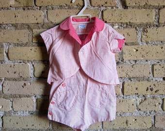 Vintage 1950s Childs 12M Overall Shorts and Jacket Set