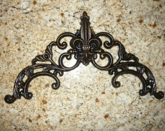 Iron Fleur de Lis Topper / Valance / Wall Plaque - FREE USA SHIPPING - Old World French Country Medieval Tuscan Home Decor