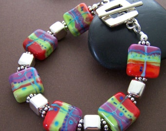 Sierra Bracelet - Lampwork Glass Bead and Sterling Silver