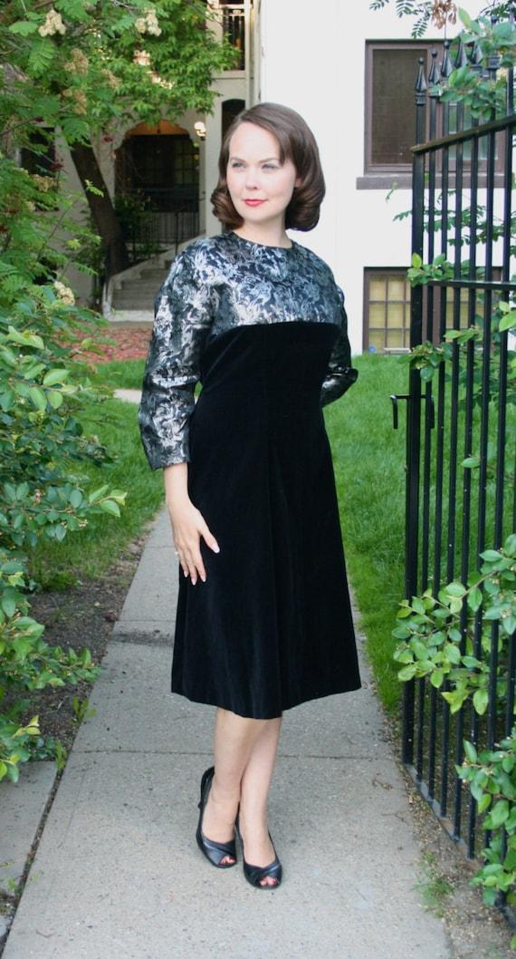 Vintage 1950s-60s Black Cotton Velvet & Silver Lamé Brocade Dress