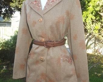 Vintage 70s Orange Floral Embroidered Boho Hippie Blazer w/ Pockets L XL