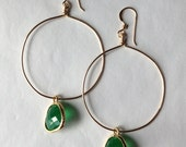 opaque green glass drop hoops ( in gold or silver )