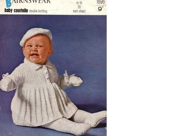 PDF Download KNIT PATTERN - Baby's Pram Set 20 in chest - Download instantly - Coat, leggings, Beret and Mittens