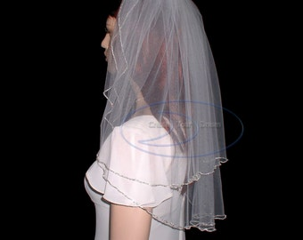 "Rhinestone veil 2 tier shoulder length veil 24""  edged with rhinestone chain"