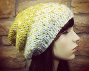 Hand Knit Hat Womens Chunky Ombre Slouch Hat - Wheat and Citron - MADE TO ORDER