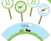 Insect Party - Personalized DIY printable cupcake wrapper and topper set