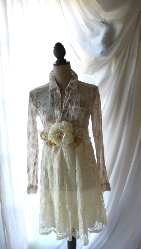 Floral Lace Dress Shabby Flower Garden Party By