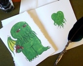 Cthulhu Greeting Card - say I Love You with a bouquet of cultists and a tentacle heart