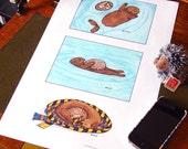 Otter and Hedgehog Print - Harry Potter meets Sherlock BBC - 11x17 Print