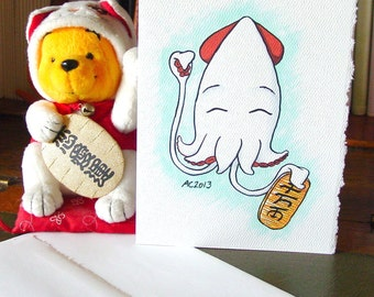 Lucky Squid Greeting Card - Lucky Cat - Blank Card