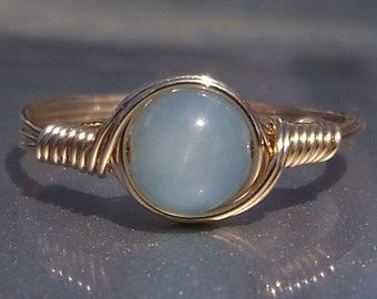 AAA Aquamarine Ring 14k Gold Filled Wire Wrapped Gemstone Ring Birthstone Ring
