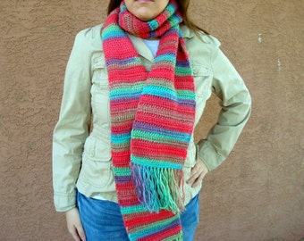 Unforgettable Scarf: Parrot Scarf for Women, Men, Crochet Scarf, Crocheted Scarf, Winter, Autumn Scarf, Hoooked Scarves Rainbow