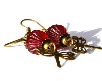 Red Glass Bead Earrings with Antiqued Brass Dragonflies Beaded jewelry