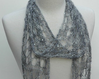 Silk and Mohair Scarf, Hand Knit-  Gray, Soft Gray, Charcoal