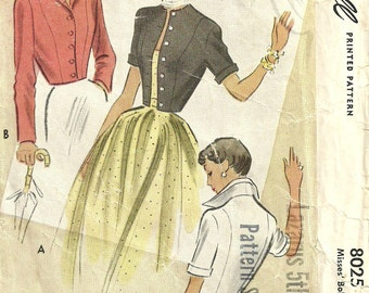 McCall 8025 // Vintage 50s Sewing Pattern // Jacket // Size 14