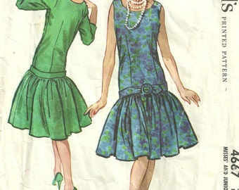 Vintage 50s Sewing Pattern / McCalls 4667 / Dress / Size 14 Bust 34