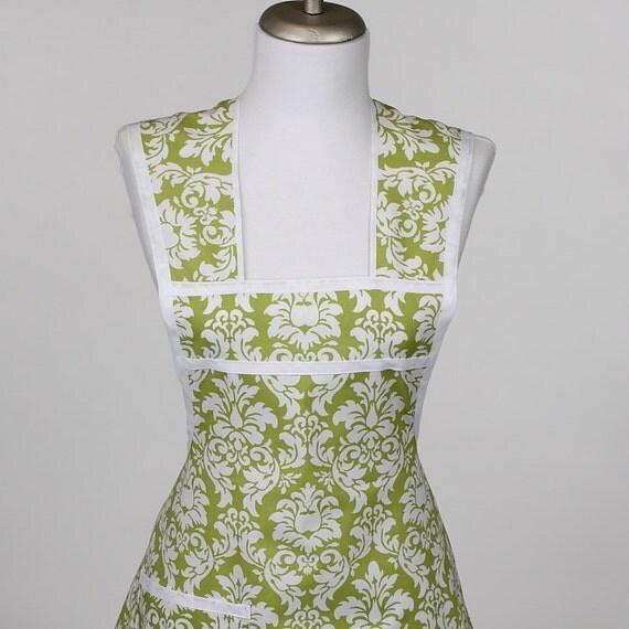 Retro Full Apron Green Damask Fabric Hostess Apron--Last One