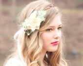 Boho wedding wreath, floral headpiece, bridal flower crown, wedding head piece natural pine cone rose floral hair crown -Take my breath away