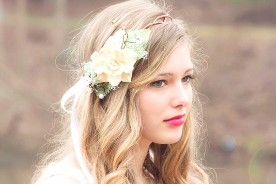 Boho wedding wreath, floral headpiece, bridal flower crown, wedding head piece natural pine cone rose floral hair crown -Take my breath away