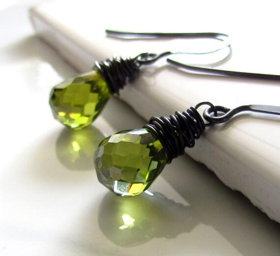 Olive Green Earrings, Green Cubic Zirconia, Oxidized Sterling Silver, Moss Green Earrings, Green CZ, Wire Wrapped, Simple Green Earrings