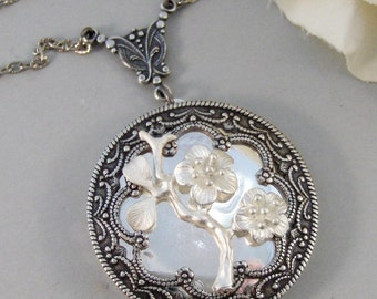 Frosted Blossom, Locket,Silver Locket,Antique Locket,Flower Locket.,Cherry Blossom, Flower. Handmade Jewelry by ValleyGirlDesigns.