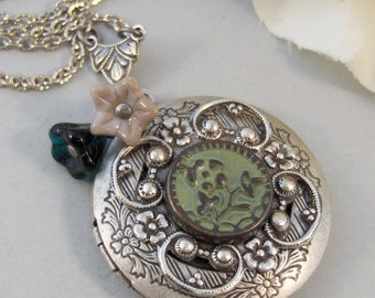 Whispering Willow,Locket,Necklace,Silver,Silver Locket,Emerald,Flower,Green,Pendant. jewelery by Valleygirldesigns.