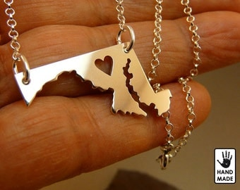 MARYLAND STATE Handmade Personalized Sterling Silver .925 Necklace in a gift box