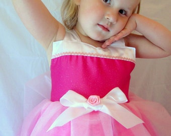 Sleeping Beauty Dress: Aurora Costume, hot pink light pink and white, birthday party, princess dinner, halloween costume, adjustable comfort