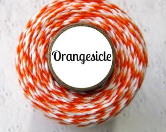 Orange and White Trendy Bakers Twine - Orangesicle - Packaging, Treats, Baked Goods, Gift Wrap, Fall, Halloween, Thanksgiving