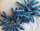 Czech Glass Beads 5x16mm Dagger Bead - Jewelry Making Supplies - Jewelry Supply - Opaque Blue Aqua (50 pieces or 25 pieces)