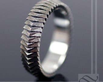 Segmented Scale Armor Ring - Sterling Silver