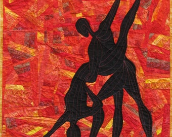 Red Crazy Quilt Wall Hanging Silhouetted Applique Dancers
