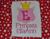 Monogrammed Embroidered Applique Princess Girly Shirt Or Princess Birthday Shirt